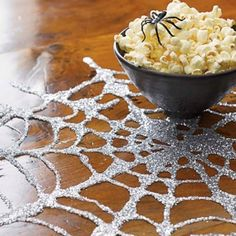 Make spider webs using Elmer's glue and glitter on top of wax paper, let dry and voila, peel off wax paper. Must for kids around Halloween.