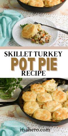 Easy Skillet Turkey Pot Pie Recipe Pie Recipes, Real Food Recipes, Dinner Recipes, Cooking Recipes, Easy Recipes, Turkey Recipes, Delicious Recipes, Chicken Recipes, Tasty