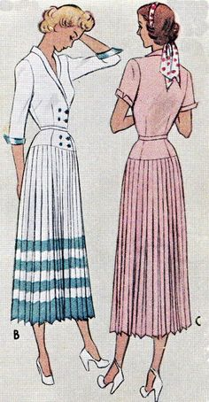 Vintage Sewing Dress Pattern McCall 7682 Double Breasted Coatdress Knife Pleated Skirt Womens Plus Size Vintage Sewing Pattern Bust 38 1940s Dresses, Vintage Dresses, Vintage Outfits, Vintage Clothing, Dress Making Patterns, Vintage Dress Patterns, Moda Vintage, 1940s Fashion, Vintage Fashion