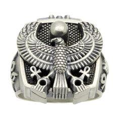 Egyptian eagle eye of horus sterling silver mens ring | Etsy Mens Rings Etsy, Mens Band Rings, Rings For Men, Egyptian Symbols, Ancient Symbols, Egyptian Artwork, Eagle Eye, Sterling Silver Mens Rings, Eye Of Horus