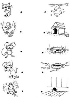 Animal-Game animals and their homes, preschool at home, preschool activities, montessori Matching Worksheets, Animal Worksheets, Nursery Worksheets, Preschool Science Activities, Preschool At Home, Preschool Education, Animals And Their Homes, House Colouring Pages, Colouring Sheets