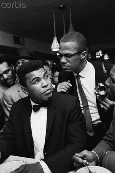 """twixnmix: """" Muhammad Ali celebrating with Malcolm X at the Hampton House in Miami after he won the World Heavyweight Championship against Sonny Liston on February Photos by Bob Gomel """" Mohamed Ali, Malcolm X, Asian History, Black History, Imam Malik, Elijah Muhammad, World Heavyweight Championship, Blood Brothers, By Any Means Necessary"""