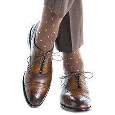 56caf89a1ed Brown with Tan Dot Fine Merino Wool Sock Linked Toe OTC. Mens ...