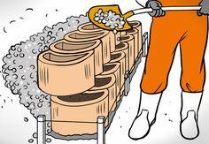 Heimwerker füllt mit einer Schaufel Kies in weitere Pflanzsteine.
