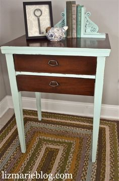 Vintage Sewing Table Number Two Furniture Projects, Furniture Makeover, Diy Furniture, Diy Projects, Painting Furniture, Vintage Furniture, Valspar Paint Colors, Paint Color Schemes, Vintage Sewing Table