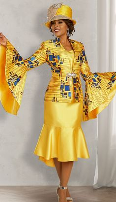 Ben Marc Three piece silky suit with geometric print and dramatic flared sleeves. First Lady Church Suits, Church Suits And Hats, Women Church Suits, Church Attire, Church Dresses, Dresses For Teens, Modest Dresses, Grad Dresses, Midi Dresses
