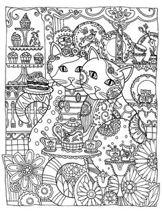 Free coloring page coloring-adult-two-cute-cats. Two loving cats to print & color for free (Source : ©Marjorie Sarnat Dover Publications. All Rights Reserved)