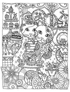 Galerie de coloriages gratuits coloriage-adulte-animaux-two-cats-love. Magnifique chats, symbolisant l'amour !