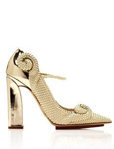 DELPOZO Gold Woven Swirl Pump - Lyst