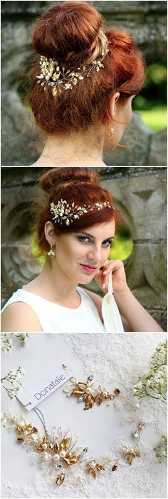 ON SALE Gold leaf Wedding hair piece Bridal hair vine