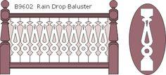 B9602 Rain Drop flat sawn balusters, railings and 13010 posts