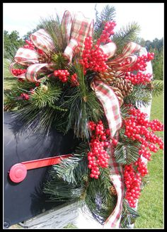 Christmas Holiday Mailbox Swag Wreath by petalpusherswreaths