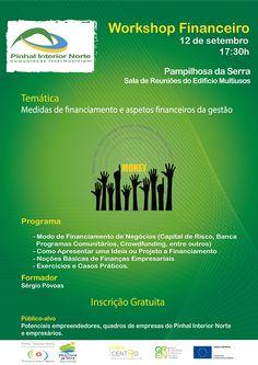 Workshop Financeiro | 12 de Setembro | 17h30 | Sala de Reuniões do Edifício Monsenhor Nunes Pereira | Pampilhosa da Serra