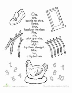 Preschool Fairy Tales Nursery Rhymes Worksheets: Nursery Rhyme Coloring: One, Two, Buckle My Shoe