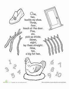 Preschool Fairy Tales Nursery Rhymes Worksheets: Nursery Rhyme Coloring: One, Two, Buckle My Shoe
