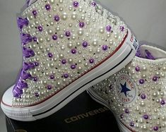 Items similar to Wedding Converse- Bridal Sneakers- Bling & Pearls Custom Converse Sneakers- Bridal Chuck Taylors- Wedding Sneakers- Converse hochzeit- Bride on Etsy Converse Heels, Bridal Converse, Bling Converse, Custom Converse, Bling Shoes, Glitter Shoes, Prom Shoes, Custom Shoes, Shoes Sneakers