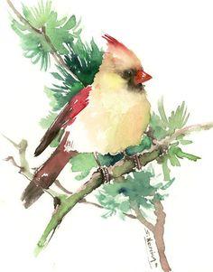 Cardinal bird artwork, original watercolor painting, olive green wall art, scarlet red green painting Watercolor Bird, Watercolor Artwork, Watercolor Animals, Green Paintings, Beautiful Paintings, Bird Paintings, Green Wall Art, Bird Artwork, Red Green