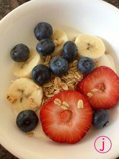 Greek yogurt, vanilla granola, strawberries, bananas, & blueberries  (all organic)