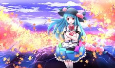 1girl autumn autumn_leaves blue_hair blue_sky bow clouds food forest fruit…