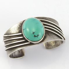 Tufa Cast Sterling Silver Cuff Bracelet set with Natural Carico Lake Turquoise…