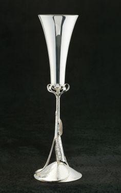 Rose Leaf Champagne Flute, sterling silver. Copyright Robyn Nichols