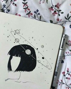 pencil drawings - Uploaded by ️️️× Find images and videos about art, drawing and girl on We Heart It the app to get lost in what you love Art And Illustration, Landscape Illustration, Landscape Art, Mountain Landscape, Art Drawings Sketches, Cool Drawings, Space Drawings, Drawings About Love, Drawings Of Girls