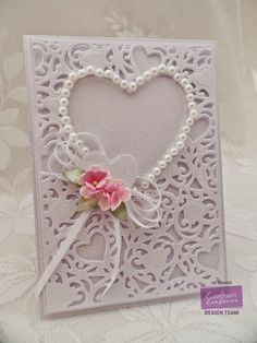 Menu card created using Crafter's Companion, A2 Create a Card - Adore Die'sire Hearts, Die'sire Delicate Flower, White Centura Pearl card. Made by Liz Walker