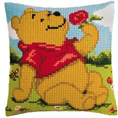 Vervaco - Cross Stitch Cushion Front Kit - Winnie the Pooh- Disney Disney Cross Stitch Kits, Counted Cross Stitch Kits, Cross Stitch Embroidery, Cross Stitch Patterns, Disney Stitch, Cross Stitch Cushion, Crochet Pillow, Vintage Embroidery, Canvas Patterns