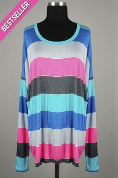 *** New Style *** Lightweight Side Slit Knit Top with Relaxed Dolman Sleeves in Multi Color Stripes.