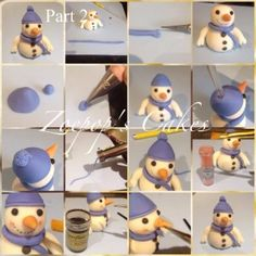 Snowman Christmas Cake Topper Tutorial by Zoepop's Cakes Christmas Cake Topper, Christmas Cake Decorations, Fondant Decorations, Christmas Cupcakes, Christmas Snowman, Christmas Baking, Holiday Cakes, Fondant Icing, Fondant Toppers
