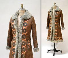 Vtg 70s Hungarian Kalocsai Shearling Sheepskin Long Fur Coat 10/12 ...