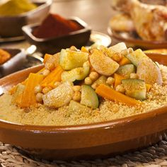 Regarded as being the national dish of Algeria, couscous is a flexible, nutritious and delightfu. Greek Recipes, Wine Recipes, Food Network Recipes, Cooking Recipes, Moroccan Couscous, Algerian Recipes, National Dish, Greek Cooking, Food Is Fuel