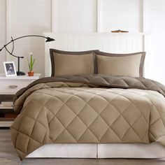 Decorate your dorm room with this soft and cozy, Microfiber Down Alternative Comforter Mini Set. Includes: One Comforter, One Sham. This brown/sand comforter is made from ultra-soft microfiber and a Stain Resistant Treatment that helps prevent stains. Twin Xl Comforter, Down Comforter, Bedding Sets, Boy Bedding, Linen Bedding, Essentials, Shabby, Bed In A Bag, Getting Out Of Bed