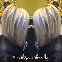 Platinum cool blonde. Long A-line bob #hairbykaitdonnelly #longbob #platinum #coolblonde