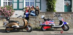 Der Amber Scoot Elektro-Roller aus der Retro Line Serie im UK und Chocolate Look - ab 1.599 Euro www.amberscoot.de