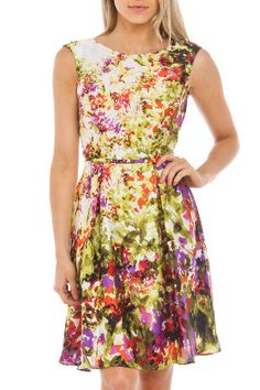 Printed Fit And Flare Dress in Plum Multicolor, $40 !!