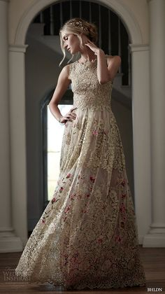 bhldn spring 2016 bridal gowns gorgeous a  line sheath wedding dress golden lace embroidery with floral prints style fable
