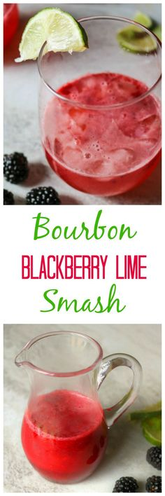 Bourbon Blackberry Lime Smash: An easy cocktail made with fresh blackberries, maple syrup, lime, sparkling water and a dash of bourbon if so desired.
