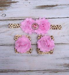 Pink Glitter Leopard Animal Print Baby Barefoot Sandal and Headband Set   - Photography Prop - Newborn Girl Clothing on Etsy, $10.00