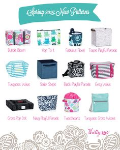 The new Thirty-One Spring Summer 2015 patterns!  I'm loving me some grey wave and bubble bloom!  #31 #thirtyone  http://www.mythirtyone.com/amywilson825
