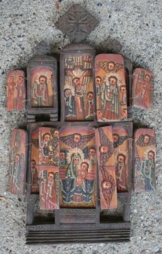 Ethiopian Orthodox Icon 4 7 doors, total of 13 mini paintings, carved front and back x closed, x 11 open Religious Icons, Religious Art, Colonial Art, Religion, Sacred Symbols, Virtual Art, Shop Icon, Mini Paintings, Orthodox Icons