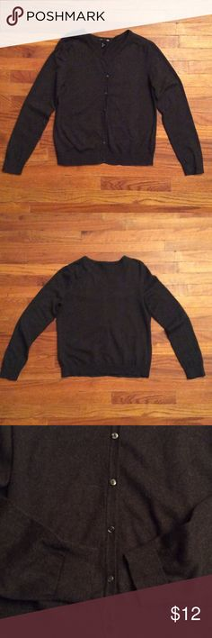"""H&M Long Sleeve Charcoal Gray Sweater Size L This versatile sweater is a button down with soft ribbing on the cuffs and hem. Wear over a Cami, shirt or dress!  100 percent cotton. Length: 23"""", Width: 18"""", Sleeve: 25"""". Smoke Free Home H&M Sweaters"""