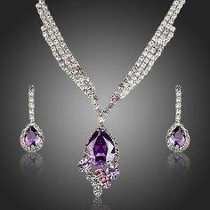Purple Water Drop Party Wear Jewelry Set  #jewelry #necklace #earrings #rings #khaista #women #fashion #womensfashion #dresses