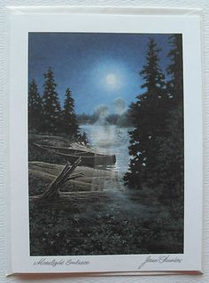 Romantic Couple Fine Art Blank Greeting Card, Moonlight Embrace by James Lumbers $4.50