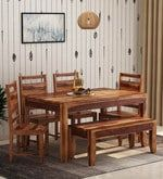 Buy Anitz Solid Wood Six Seater Dining Set with Bench in Warm Walnut Finish by Woodsworth  Online: Shop from wide range of Dining Online in India at best prices. ✔Free Shipping✔Easy EMI✔Easy Returns
