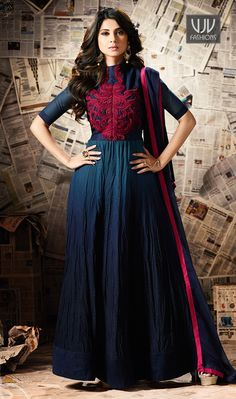 Jennifer Winget Navy Blue Color Silk Anarkali Designer Suit Make an adorable statement in this Jennifer Winget navy blue color silk,georgette and satin designer anarkali salwar suit. This beautiful attire is showing some amazing embroidery done with resham, patch border and embroidered work.