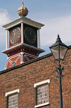 The clock tower on top of the Museum of Ion in Coalbrookdale, England