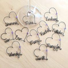Personalized Bridesmaid Gift, Bridal Shower Party Favors, Bridal Party Wedding favors, Personalized Wine Charms, Party Favors - Best Do It Yourself (DIY) Ideas Bridal Shower Party, Wedding Party Favors, Bridal Shower Decorations, Bridal Showers, Wire Ornaments, Personalized Bridesmaid Gifts, Personalized Wine, Bridesmaid Favors, Wire Crafts