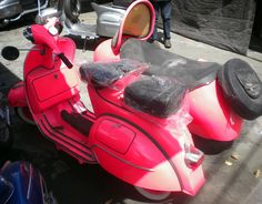 1965 Vintage Vespa - Pink with Sidecar - Completely Reconditioned with Genuine Original Vespa - at POP! - POPtheshop.com....WOWOWOW!!