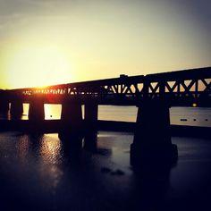 Pedestrian bridge over the Arkansas river. Tulsa, OK